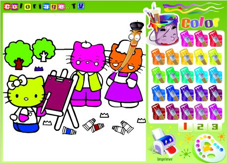 jeu de coloriage hello kitty